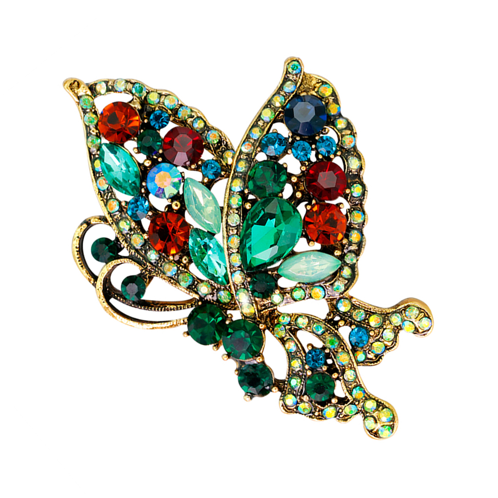 Stylish Colorful Rhinestone Glass Beads Butterfly Brooch Pin Elegant Insect Bug Jewelry Kid Women Girls Brooch