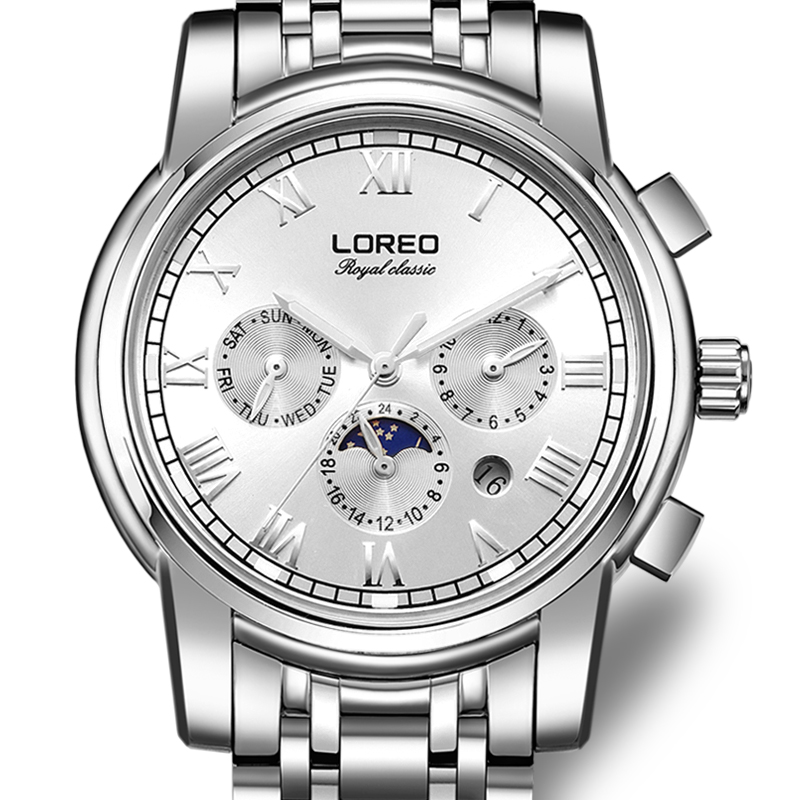 LOREO Germany watches men luxury brand automatic self-wind moon Phase sapphire luminous silver stainless steel relogio masculino loreo 6004 germany watches men luxury brand quartz sapphire water resistant 5atm luminous calendar chronograph relogio masculino
