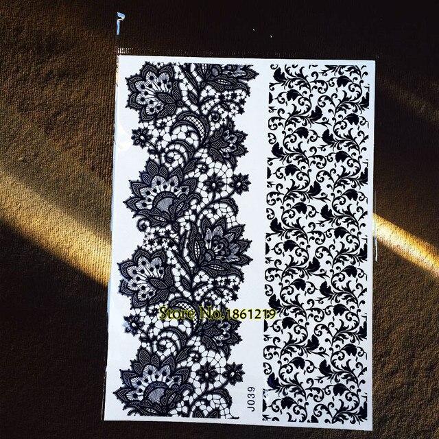 1pc Large 21 15cm Black Henna Paste Temporary Tattoo Gbj039 Flower