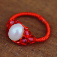 National Wind Handmade Jewelry Transfer Rice Beads Natural Pearl Ring Benming Years Red Rope King Kong