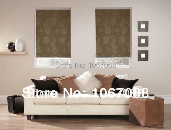 Wholesale Retail 100 Polyester Brown Jacquard Blackout Roller Blinds Customized Window Curtains For Living Room 20089 05