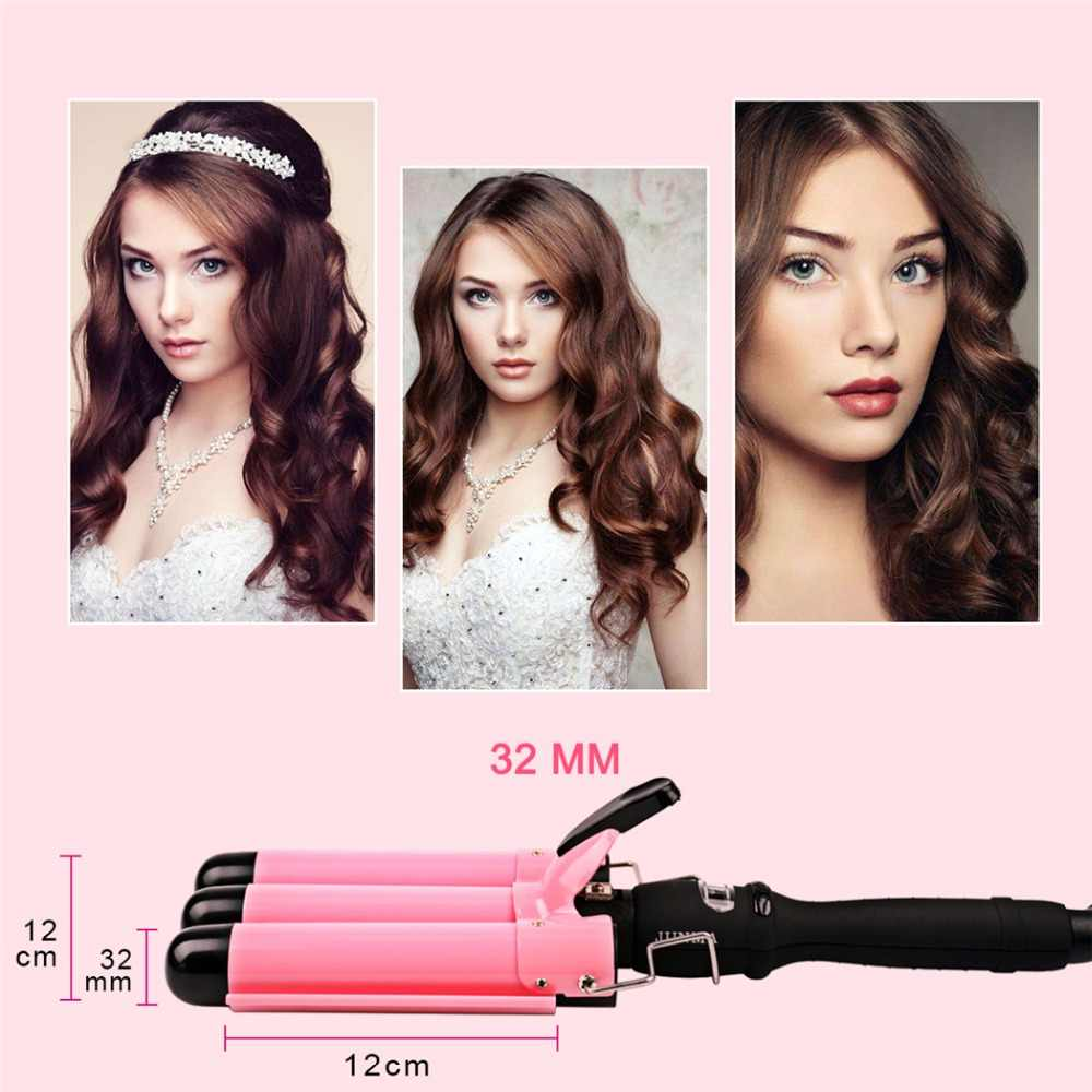 22 25 mm professional hair curling iron wand waver roller lcd ceramic 3 barrels hair curler big wave curly styling tool s36
