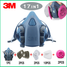 3M 7502 Gas mask 7/9/15/17 in 1 half Face Respirator Spray Painting Protection Respirator Dust mask with 2091 fiter