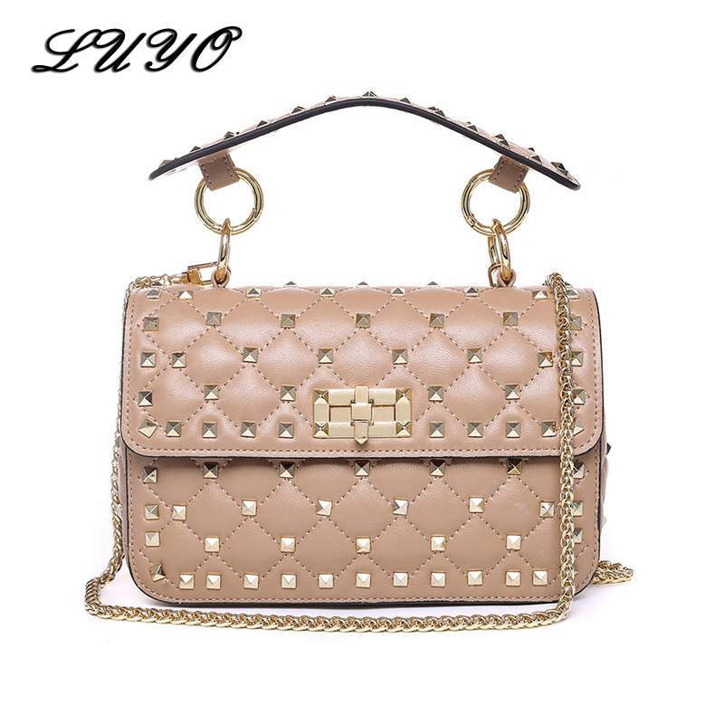 LUYO Rivet Genuine Leather Crossbody Bags For Female Luxury Handbags Women Bags Designer Clutch Tote Small Shoulder Channel Bag aibkhk cowhide genuine leather women speedy bags crossbody bag female fashion shoulder for women s handbags clutch leopard bag