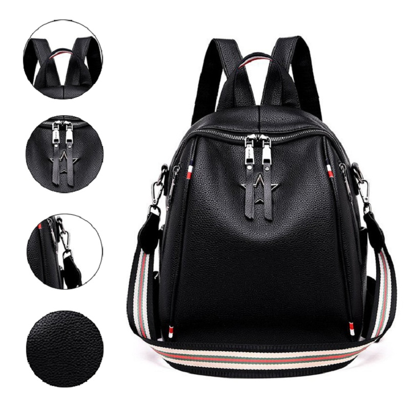 New Women Backpack PU Leather Fashion Causal Bags High Quality Cowskin Female Shoulder Bag Backpacks For Girls High Quality