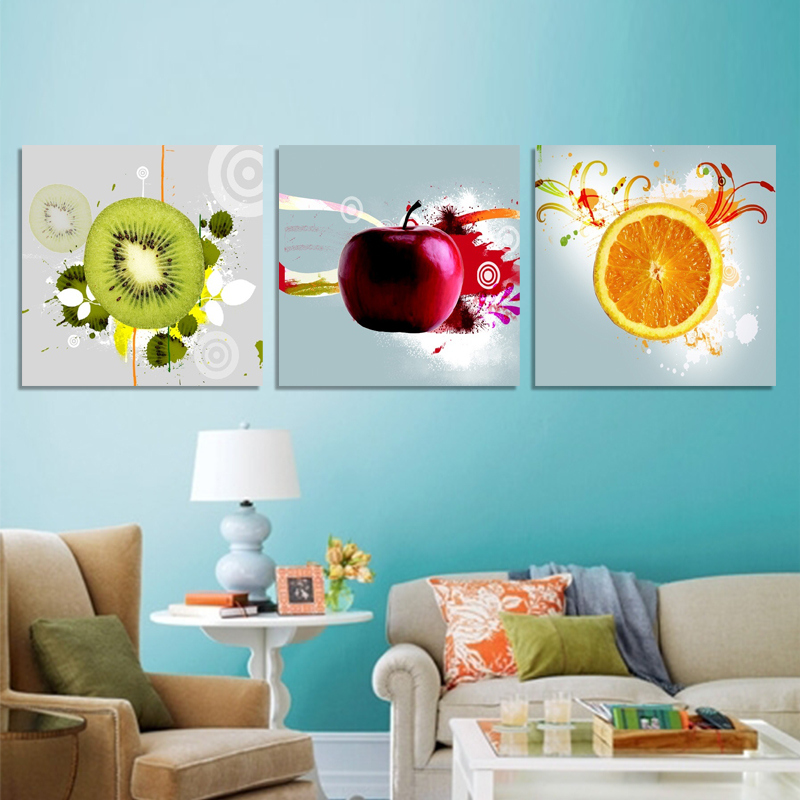 Canvas art painting wall decor for living room kitchen for Apple home decor