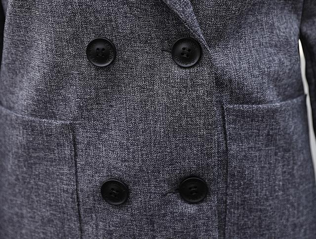 Double Breasted Jacket and Long Pant Black Blazer Set