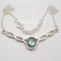 Chanti International Silver Cabochon Oval BLUE FIRE LABRADORITE Necklace 18.25 Inches