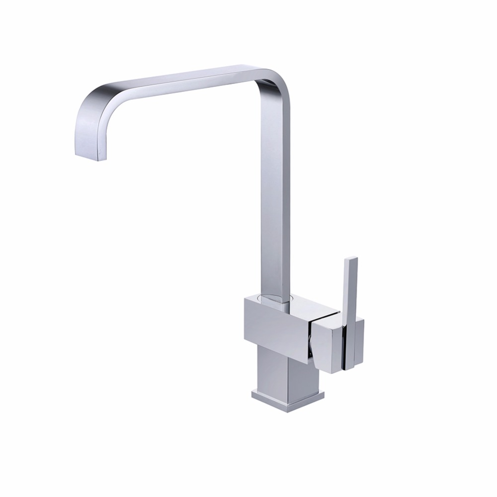 Kitchen Sink Faucet Deck Mounted Chrome Polished Basin Faucet Hot&Cold Water Swivel Mixer Tap Kitchen Taps