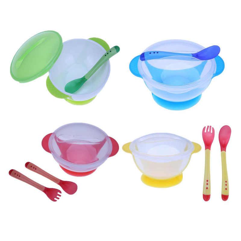 ชุดอาหารเด็กเด็กการเรียนรู้จานดูดถ้วย Assist ชามอาหารอุณหภูมิช้อนเด็กช้อนชาม