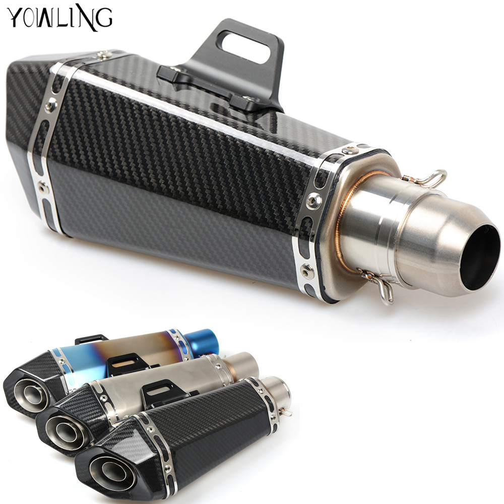 Universal Motorcycle Real carbon fiber exhaust Exhaust Muffler pipe For Honda NT700 CB500 CB600F Hornet NT400 NTV600 VT250 free shipping carbon fiber id 61mm motorcycle exhaust pipe with laser marking exhaust for large displacement motorcycle muffler