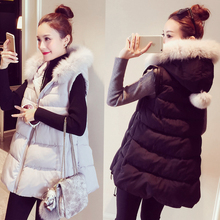 Fat MM 2016 winter cotton-padded jacket long down coat loose large fur collar Vest Female Plus Size S_5XL
