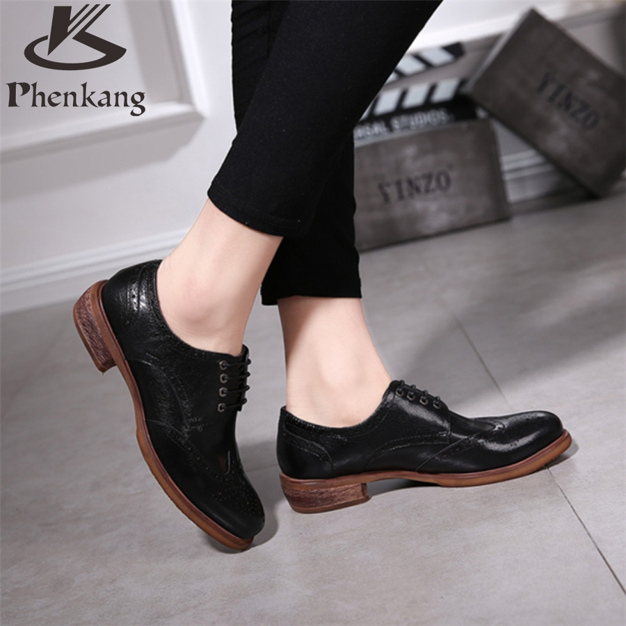 ФОТО Genuine leather woman US size 8 designer vintage flat shoes round toe handmade brown black 2017 sping oxford shoes for women