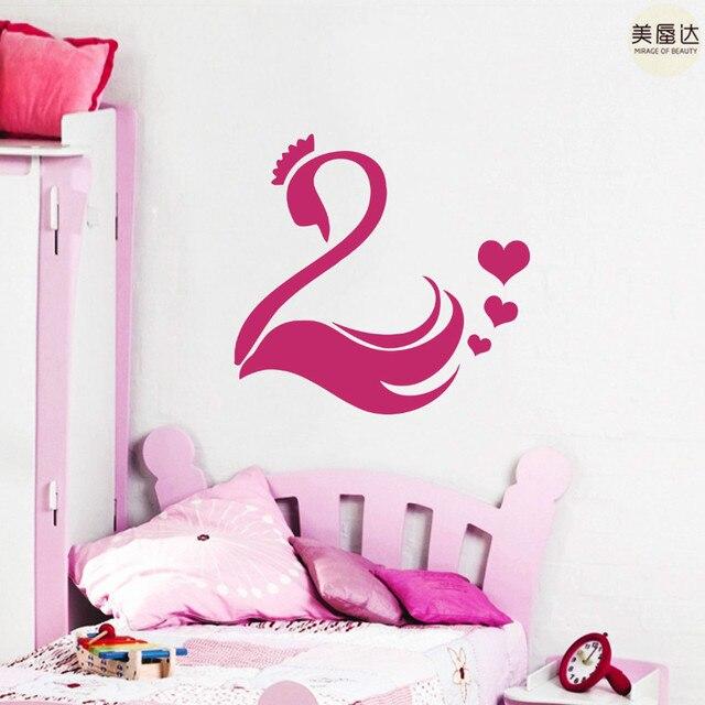 Wall Decals Swan Bird Crown Heart Vinyl Sticker Bedroom Decor