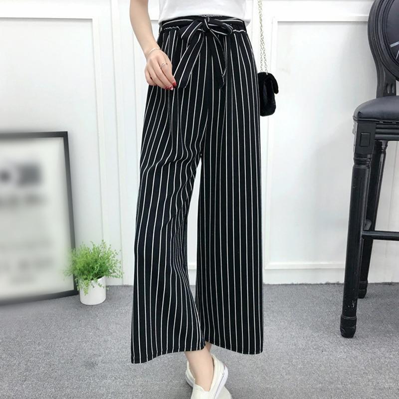 Stripe Wide Leg Pants Women Summer Trousers Chic Elegant OL Style Streetwear Sash Black High Waist Casual Pants Female Belted