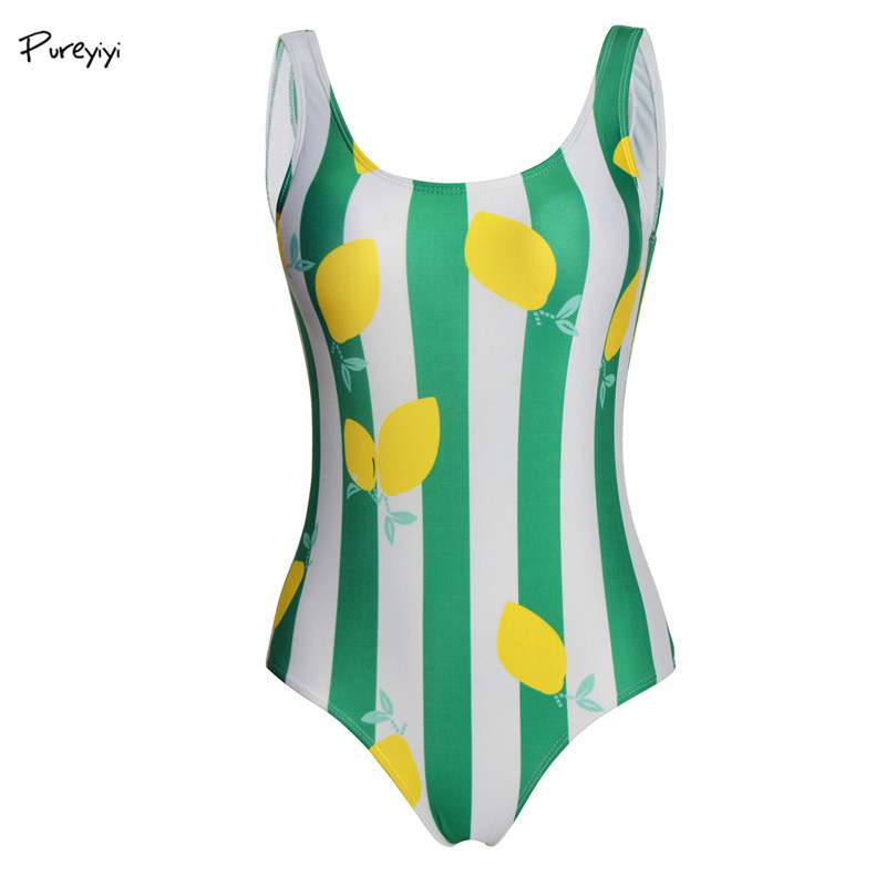 <font><b>Womens</b></font> <font><b>2018</b></font> <font><b>Swimsuit</b></font> <font><b>One</b></font> <font><b>Pieces</b></font> Bath Suits Body Suits <font><b>Sexy</b></font> Fruit <font><b>Swimwear</b></font> <font><b>Swimsuit</b></font> <font><b>Green</b></font> Swimming Suit Fruit Print Beach Wear image