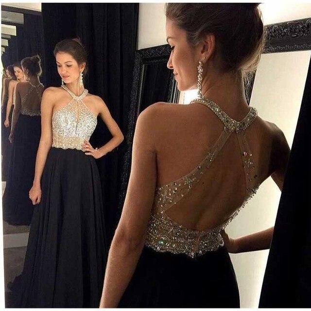 bce076d63 Halter Backless negro largo Prom vestidos 2016 With pesado partida por la noche  vestido Formal atractivo