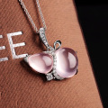s925 sterling silver pendants with natural crystal powder ,fashion rose quartz pendant to send waves and generous woman