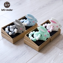 Let'S Make Silicone Teething Toys Diy Tiny Rodent Cartoon Rabbit Rattles Clips Food Grade B