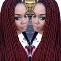 Fashion synthetic lace front wig twist braiding women wig 12-26 inch 99J burgundy glueless braided lace front wig wholesale