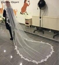Branco/marfim casamento véu 3m longo pente laço mantilla catedral véu nupcial acessórios de casamento veu de noiva fotos reais md30