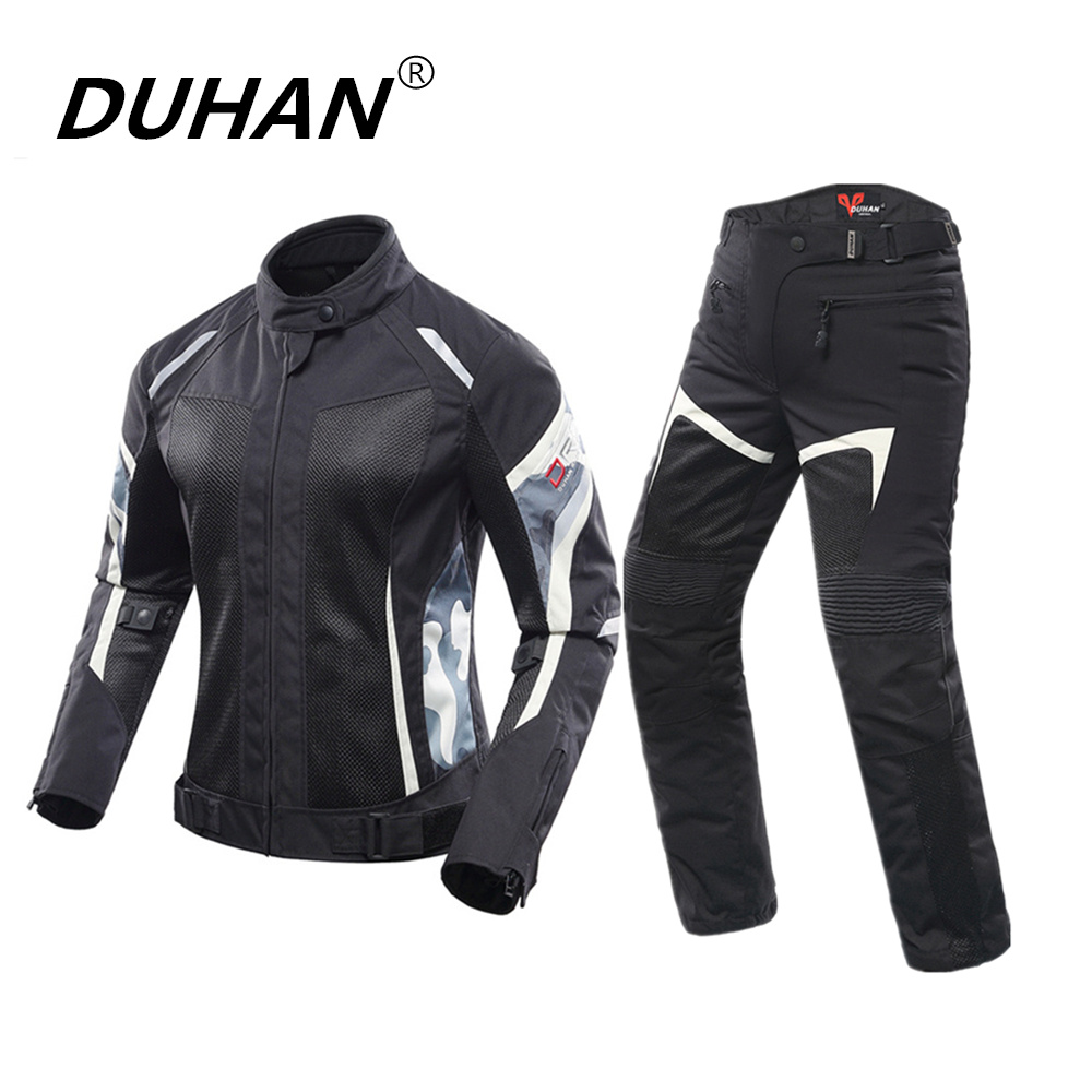 DUHAN Women Motorcycle Jacket+Motorcycle Pants Summer Breathable Motorcycle Suit White Racing Jacket Moto Protective Clothing scoyco waterproof riancoat suit reflective motorcycle clothing protective jacket waterproof moto jacket and motorcycle pants
