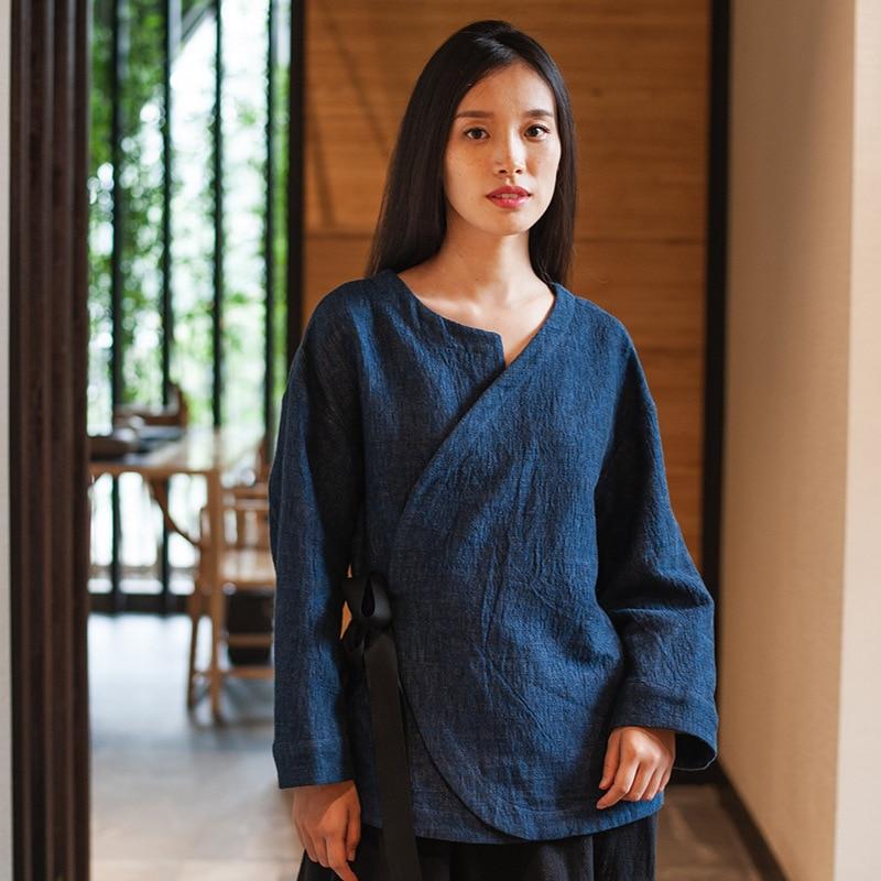 Autumn Winter Women s Shirt Jacket Retro Chinese Double Layer Asymmetric Tie Cotton Shirt