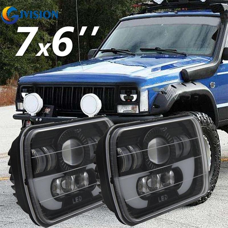 Здесь продается  For Jeep Cherokee XJ Dodge Van Toyota Pickup Nissan 240SX H6052/53 H6054/LL 5X7 Headlights Rectangular led 7