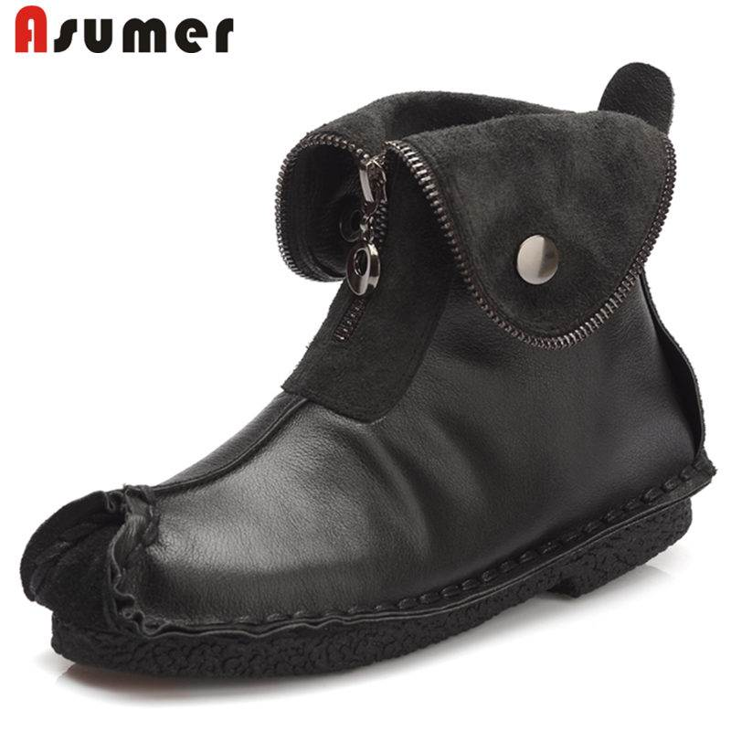ASUMER NEW 2018 fashion square toe genuine leather boots zipper ankle boots for women flat with platform autumn female bootsASUMER NEW 2018 fashion square toe genuine leather boots zipper ankle boots for women flat with platform autumn female boots