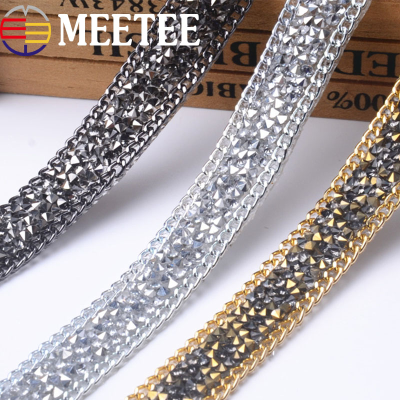 15MM Rhinestons Chain Lace Trim Iron on Shoes Hairclip Dress Crystal Lace Ribbon Sewing Accessories DIY Wedding Cake Party Decor in Lace from Home Garden