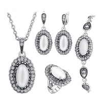 Women Wedding Jewelry Set Plating Ancient Silver 4Pcs Sets White Opal Ring Necklace Bracelet And Earring