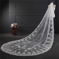 Wedding Accessories 2018 Cheap In Stock Appliques Tulle Long Cathedral Wedding Veil Lace Edge Bridal Veil with Comb 3.5*1.8
