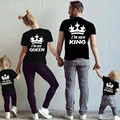Summer Family Matching Outfits Matching Father Mother Daughter Son Clothes Cotton Short Sleeve T-shirt King Queen Family Look