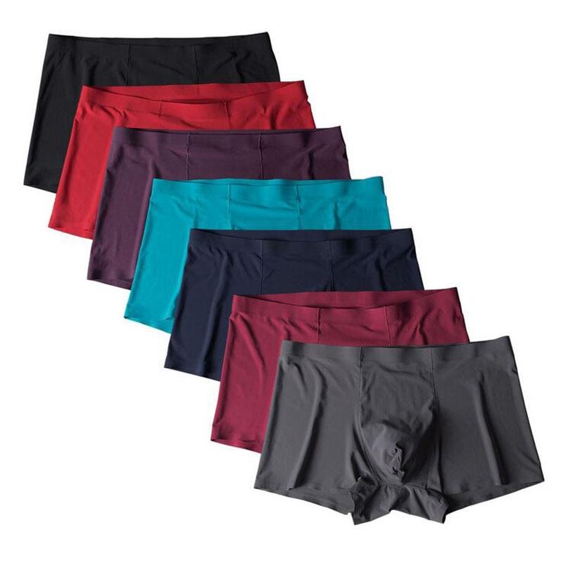 2017 Mens Underwear Brand Ice Silk Men Big Size Sexy Boxers Ultra thin Slip Male panties