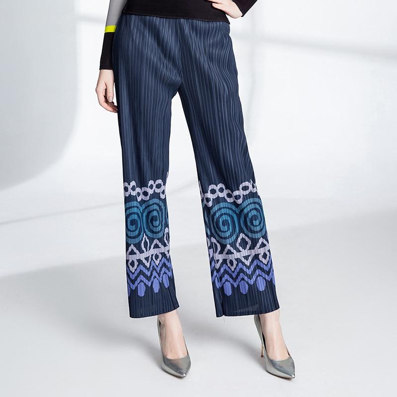 Pantalon Loisirs 2019 Bleu De Large Haute Imprimé Taille Printemps Femmes Été Nouveau pattes Hq1xqWgFYw