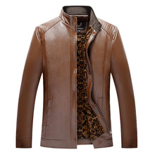Autumn Winter Leather Jackets Mens Black Leather PU Jacket Slim Coats Male Faux Leather Jackets Suit
