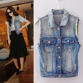 2017Women Short Sleeveless jacket Vests Plus Size 3XL 4XL Spring Summer Cowboy Vest Cardigan Coat Female Colete Jeans denim ves
