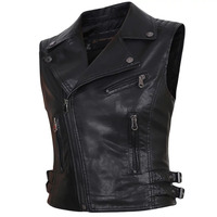 Women faux Leather Vests Ladies Novelty Motorcycle Zippers embossed PU Vest Slim tactical Rivet WaistCoat female European drop