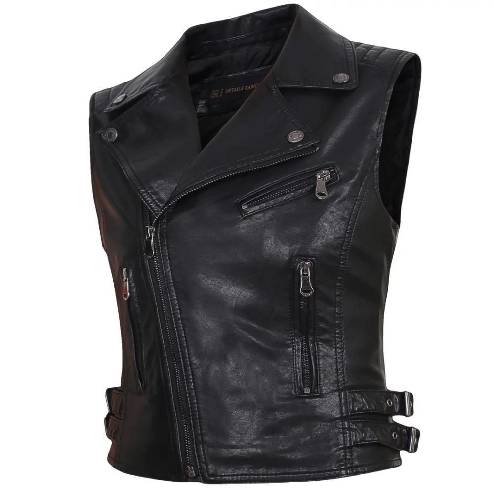 Women Faux Leather Vests Ladies Novelty Motorcycle Zippers Embossed PU Vest Slim Tactical Rivet WaistCoat Female European Drop
