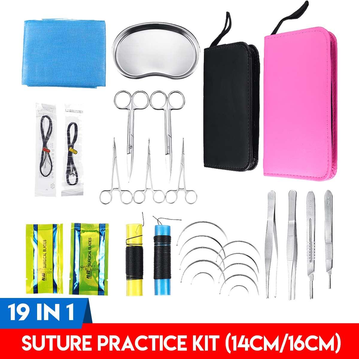 19 pièces Kit de pratique de Suture outil de formation pédagogique de surface avec sac Oxford outils d'enseignement des sciences médicales multifonctions