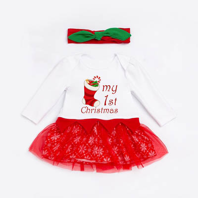 My 1st Christmas Costume Long Sleeve Lace Tutu Bodysuit Headband 2 Pieces Baby Girl Clothes Sets Girls Christmas Tutu Outfit 1set baby girl polka dot headband romper tutu outfit party birthday costume 6 colors