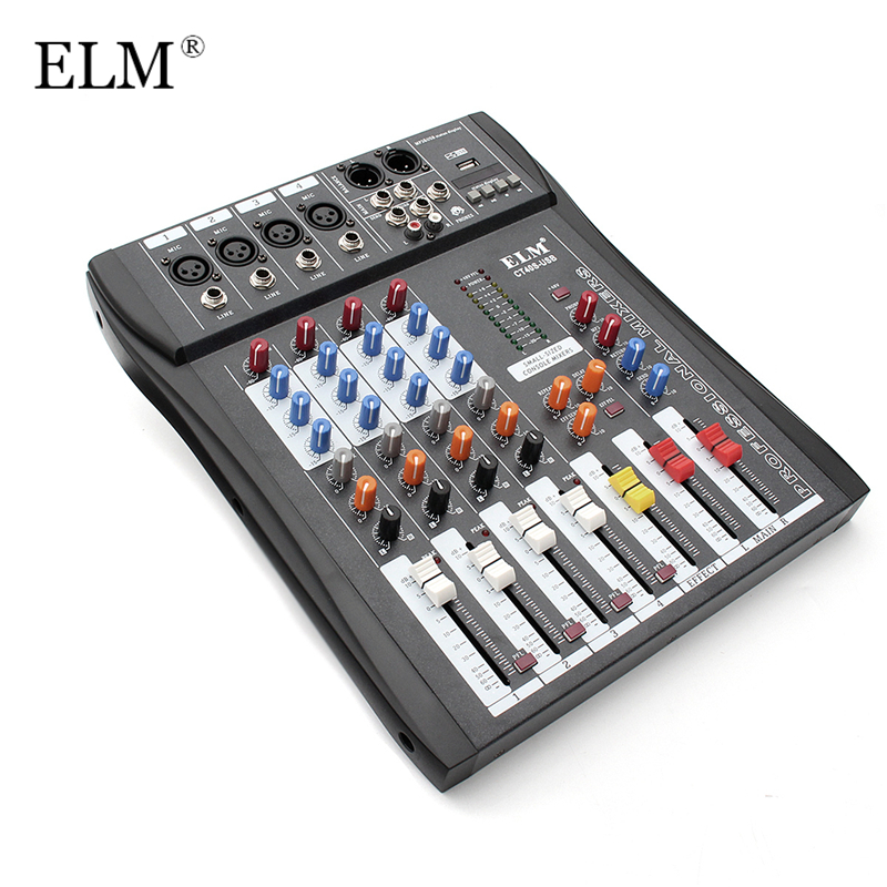 ELM Professional 4 Channel Digital Sound Audio DJ Mixer Mixing Microphone Amplifier Console 48V Phantom Power With USB audio mixer cms1600 3 cms compact mixing system professional live mixer with concert sound performance digital 24 48 bit effects