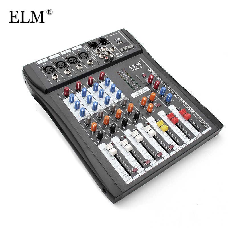 ELM Professional 4 канальный цифровой звук диджейский аудио-микшер смешивания микрофон усилители домашние консоли 48 В Phantom мощность с USB