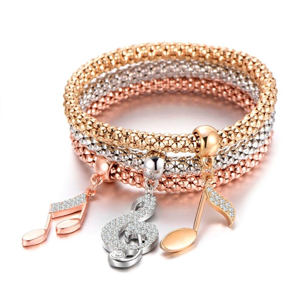 Charms Bracelet Music Note Treble Clef Bracelet Crystal Music Jewelry