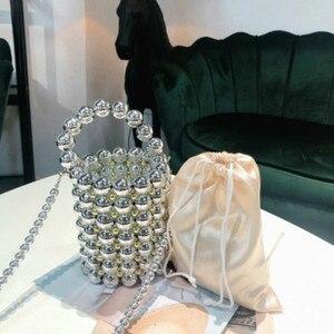 Image 4 - האופנה פרל חרוזים נשים של תיקי יוקרה בעבודת יד חרוזים Crossbody שקיות לנשים אלגנטי מסיבת ערב שקיות גבירותיי ארנקי