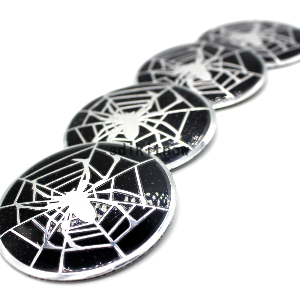 4pcs Spider Car Wheel Hub Caps Cover Rim Sticker Badge Fit Styling For AUDI Cadillac Infiniti Ford BMW Nissan Hyundai Porsche