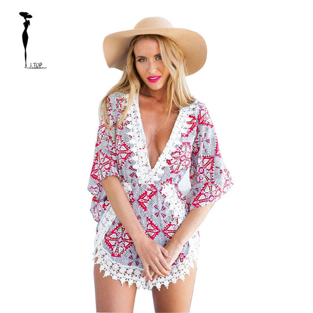 bdb3c9fe224 2015 Brand New Chiffon Paisley Printing Women Lace Rompers Summer Style  Deep V Neck Playsuit Beach Jumpsuit Mono Mujer Y0072