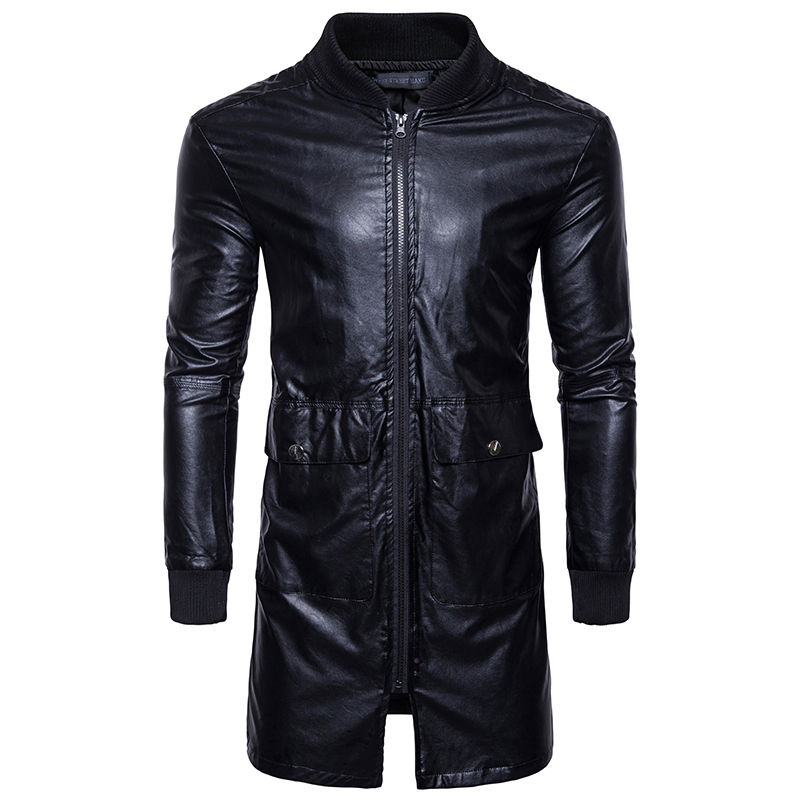 Spring New long Leather Jacket Fashion Casual Men Long Section Solid Color Male Youth Trend Motorcycle PU Leather Jacket Coat