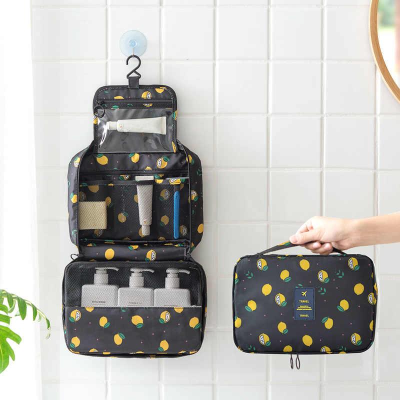 Owoce cytryna wzór wisząca kosmetyczka mężczyźni podróży próżność przypadkach szminka gadżet mycia sortowania dużego ciężaru łazienka makijaż torby rzeczy