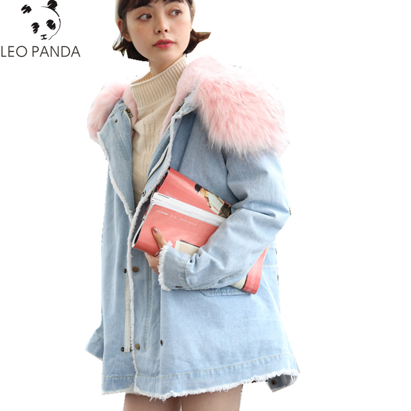 Autumn Winter Women Pockets Single Breasted Fur Collar Hooded Denim Outerwear Female Loose Casual Comfortable Outerwear ZX1214